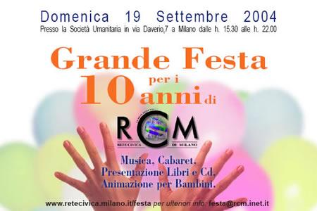 Invito alla Festa per i 10 anni di RCM